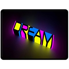 Dream Colors Neon Bright Words Letters Motivational Inspiration Text Statement Fleece Blanket (large)
