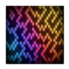 Colorful Abstract Plaid Rainbow Gold Purple Blue Tile Coasters by Alisyart
