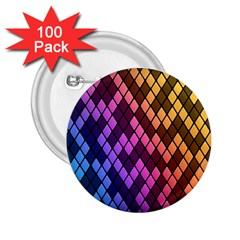Colorful Abstract Plaid Rainbow Gold Purple Blue 2 25  Buttons (100 Pack)