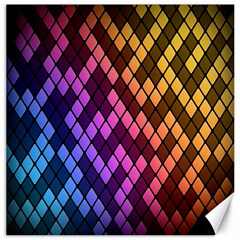 Colorful Abstract Plaid Rainbow Gold Purple Blue Canvas 16  X 16   by Alisyart