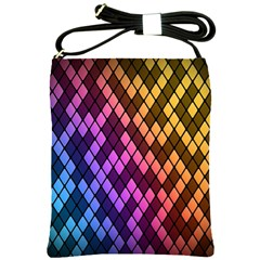 Colorful Abstract Plaid Rainbow Gold Purple Blue Shoulder Sling Bags by Alisyart