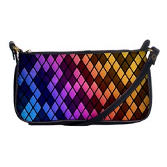 Colorful Abstract Plaid Rainbow Gold Purple Blue Shoulder Clutch Bags by Alisyart