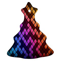 Colorful Abstract Plaid Rainbow Gold Purple Blue Ornament (christmas Tree)  by Alisyart