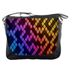 Colorful Abstract Plaid Rainbow Gold Purple Blue Messenger Bags by Alisyart
