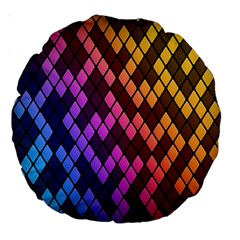 Colorful Abstract Plaid Rainbow Gold Purple Blue Large 18  Premium Round Cushions