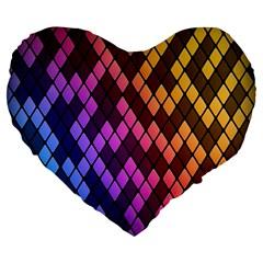 Colorful Abstract Plaid Rainbow Gold Purple Blue Large 19  Premium Heart Shape Cushions by Alisyart