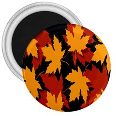 Dried Leaves Yellow Orange Piss 3  Magnets by Alisyart
