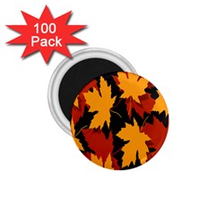 Dried Leaves Yellow Orange Piss 1 75  Magnets (100 Pack)  by Alisyart