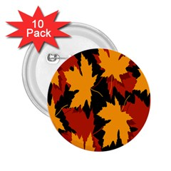 Dried Leaves Yellow Orange Piss 2 25  Buttons (10 Pack)  by Alisyart