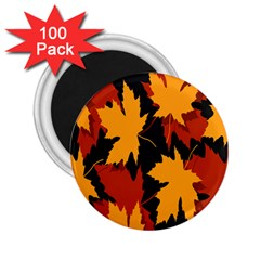 Dried Leaves Yellow Orange Piss 2 25  Magnets (100 Pack)  by Alisyart