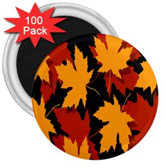 Dried Leaves Yellow Orange Piss 3  Magnets (100 Pack) by Alisyart
