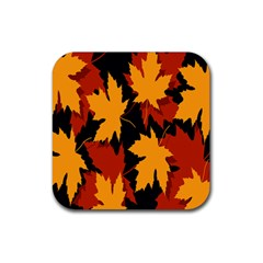 Dried Leaves Yellow Orange Piss Rubber Square Coaster (4 Pack)  by Alisyart