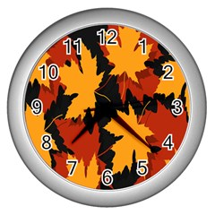 Dried Leaves Yellow Orange Piss Wall Clocks (silver)  by Alisyart