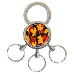 Dried Leaves Yellow Orange Piss 3 Ring Key Chains by Alisyart