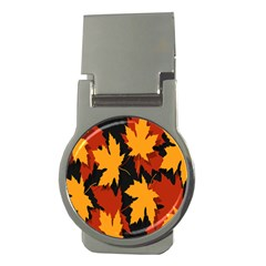 Dried Leaves Yellow Orange Piss Money Clips (round)  by Alisyart
