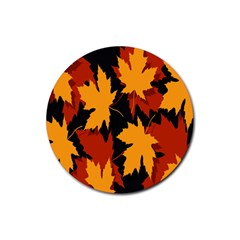 Dried Leaves Yellow Orange Piss Rubber Coaster (round)  by Alisyart
