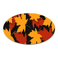 Dried Leaves Yellow Orange Piss Oval Magnet by Alisyart