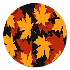 Dried Leaves Yellow Orange Piss Magnet 5  (round) by Alisyart