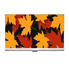 Dried Leaves Yellow Orange Piss Business Card Holders by Alisyart