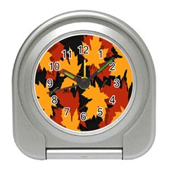 Dried Leaves Yellow Orange Piss Travel Alarm Clocks by Alisyart