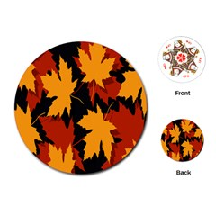 Dried Leaves Yellow Orange Piss Playing Cards (round)  by Alisyart