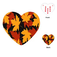 Dried Leaves Yellow Orange Piss Playing Cards (heart)  by Alisyart