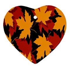 Dried Leaves Yellow Orange Piss Heart Ornament (two Sides) by Alisyart