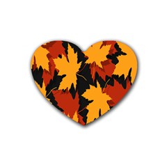 Dried Leaves Yellow Orange Piss Rubber Coaster (heart)  by Alisyart