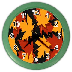 Dried Leaves Yellow Orange Piss Color Wall Clocks by Alisyart