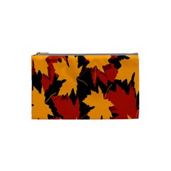 Dried Leaves Yellow Orange Piss Cosmetic Bag (small)  by Alisyart