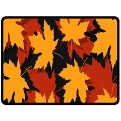 Dried Leaves Yellow Orange Piss Fleece Blanket (large)  by Alisyart