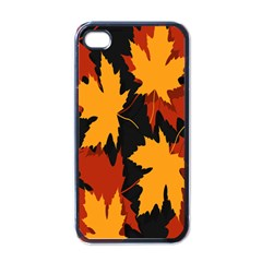 Dried Leaves Yellow Orange Piss Apple Iphone 4 Case (black) by Alisyart