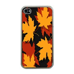 Dried Leaves Yellow Orange Piss Apple Iphone 4 Case (clear) by Alisyart