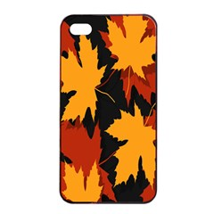 Dried Leaves Yellow Orange Piss Apple Iphone 4/4s Seamless Case (black) by Alisyart