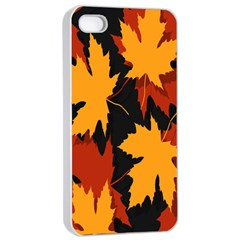 Dried Leaves Yellow Orange Piss Apple Iphone 4/4s Seamless Case (white) by Alisyart
