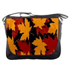 Dried Leaves Yellow Orange Piss Messenger Bags by Alisyart