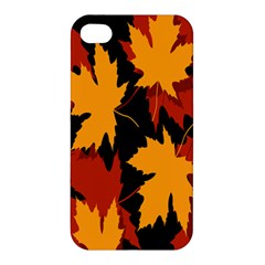 Dried Leaves Yellow Orange Piss Apple Iphone 4/4s Premium Hardshell Case by Alisyart
