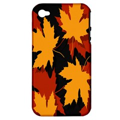 Dried Leaves Yellow Orange Piss Apple Iphone 4/4s Hardshell Case (pc+silicone) by Alisyart