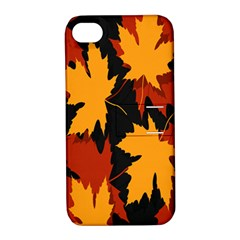 Dried Leaves Yellow Orange Piss Apple Iphone 4/4s Hardshell Case With Stand by Alisyart