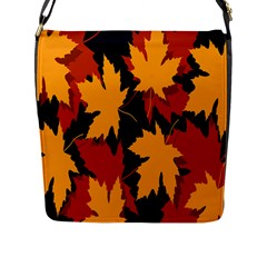 Dried Leaves Yellow Orange Piss Flap Messenger Bag (l)  by Alisyart