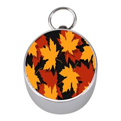 Dried Leaves Yellow Orange Piss Mini Silver Compasses by Alisyart