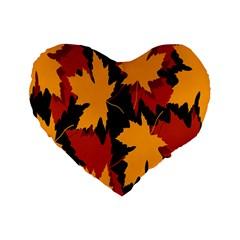 Dried Leaves Yellow Orange Piss Standard 16  Premium Flano Heart Shape Cushions by Alisyart