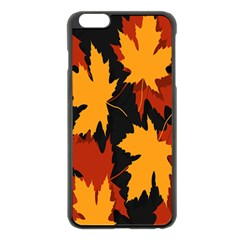 Dried Leaves Yellow Orange Piss Apple Iphone 6 Plus/6s Plus Black Enamel Case by Alisyart