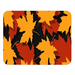 Dried Leaves Yellow Orange Piss Double Sided Flano Blanket (large)  by Alisyart