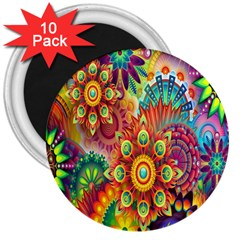 Colorful Abstract Flower Floral Sunflower Rose Star Rainbow 3  Magnets (10 Pack)  by Alisyart