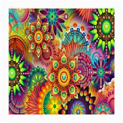 Colorful Abstract Flower Floral Sunflower Rose Star Rainbow Medium Glasses Cloth (2 Side) by Alisyart