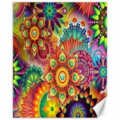 Colorful Abstract Flower Floral Sunflower Rose Star Rainbow Canvas 11  X 14   by Alisyart