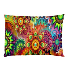 Colorful Abstract Flower Floral Sunflower Rose Star Rainbow Pillow Case (two Sides) by Alisyart