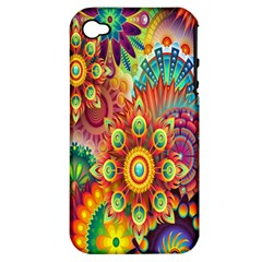 Colorful Abstract Flower Floral Sunflower Rose Star Rainbow Apple Iphone 4/4s Hardshell Case (pc+silicone)