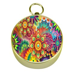 Colorful Abstract Flower Floral Sunflower Rose Star Rainbow Gold Compasses by Alisyart